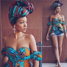 This Headwrap African super wax fabric is a great way to bring a cultural flavor to any outfit! It helps African women become more confident when going out! African Fashion Ankara, African Inspired Fashion, African Print Fashion, Africa Fashion, Tribal Fashion, African Print Skirt, African Print Dresses, African Dress, African Prints