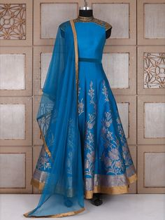 Shop Blue silk awesome anarkali suit online from G3fashion India. Brand - G3, Product code - G3-WSS21661, Price - 12845, Color - Blue, Fabric - Silk,