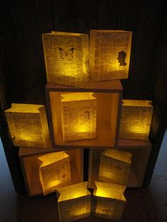 10 Book Luminaries, Book Decorations, Book Wedding, Library Theme Wedding, Book Luminary Bags, Book Theme, Table Decor, Book Centerpiece on Etsy, $60.00