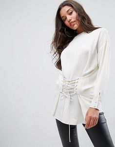 ASOS Top With Corset Detail - White
