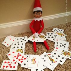 Elf on the Shelf playing cards with .... ?