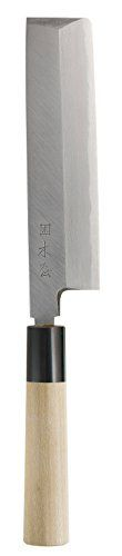 Japanese Usuba Knife, vegetable knife single edge: blade length 180mm, HRC 59 – 60 Double layer Shirogami ultra soft carbon steel, 10 -12 deg single edged angle Buffalo Horn bolster Magnolia handle Inscription reads: Izutsuki KIYA Made in Japan, distributed by KIYA Nihonbashi  - http://kitchen-dining.bestselleroutlet.net/product-review-for-kiya-usuba-knife-180mm-directo-import-from-kiya-nihonbashi-tokyo-japan-tokyos-most-famous-knife-shop/