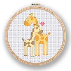 Giraffe Family Cross Stitch Pattern / Digital por RivkasRenditions