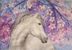 Watercolour horse and cherry blossom. Watercolor Flowers
