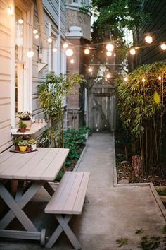 Narrow side patios easily allows two structures to connect lights so no guide wire is necessary. Shop online for string lights at http://www.partylights.com/String-Lights-Sets.