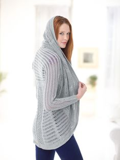 The wide shawl collar on this garment allows you to wear this as a hooded cardigan.  2 outfits in one!