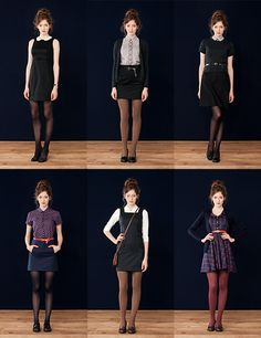 Maybe not with the funky colored tights, but everything else about these looks I love. Maybe not with the funky colored tights, but everything else about these looks I love. Fall Outfits, Casual Outfits, Cute Outfits, Fashion Outfits, Work Outfits, Gamine Outfits, Skirt Outfits, Dress Skirt, Outfits Hipster