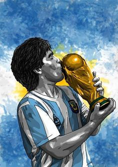 Diego y la copa Football Names, Football Quotes, Best Football Players, Football Art, World Football, Soccer World, Soccer Pro, Messi Soccer, Messi And Ronaldo