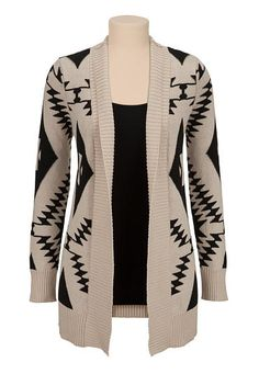 Contrast ethnic print open front cardiwrap (original price, $44) available at #Maurices