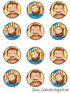 etiquetas para cumpleaños jorge el curioso Curious George Party, Curious George Cupcakes, Curious George Birthday, 6th Birthday Parties, 3rd Birthday, First Birthdays, Georgia, Children Ministry, Amelie