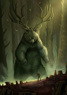 Guardian of Balance, a powerful forest spirit of predator and prey, manifests before an unwitting lumberjack.