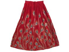 """Hippie Gypsy Long Red Sequin Skirt Peacock Feather Print Boho Rayon Skirts 36""""   eBay $19.99"""