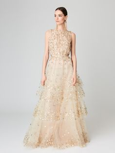 Lamé and Sequin Embroidered Tulle Gown - Sale