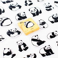 Black and White Chinese Pandas Memo Stickers Pack Posted It Kawaii Planner Scrapbooking Stationery Escolar School Supplies Cartoon Stickers, Diy Stickers, Scrapbook Stickers, Diy Scrapbook, Notes Autocollantes, Diy Projects For School, Kawaii Planner, Kawaii Stationery, Scrapbooking