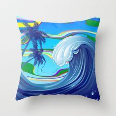 Sea Ocean big Wave Throw Pillow by Bluedarkat Lem - $20.00
