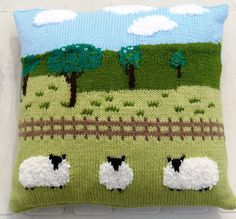 Sheep in the Countryside Cushion Knitting Pattern, Pillow Knitting Pattern with…