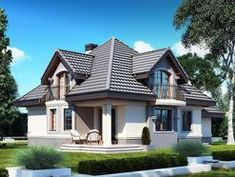 DOM.PL™ - Projekt domu DM Śnieżka K CE - DOM GM2-59 - gotowy koszt budowy Cabin Design, House Design, Civil Construction, House Plans, Floor Plans, Flooring, How To Plan, Mansions, Architecture