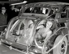 """June 11, 1940. """"General Motors exhibit at Golden Gate International Exposition, San Francisco. Transparent Car with Pontiac Chassis and Body by Fisher."""" And what a body it is! 8x10 inch Agfa acetate negative."""