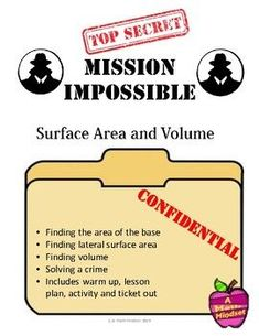 An investigation that allows students to find a the culprit that robbed the GeoMart and practice Surface Area (using a net) and volume of rectangular prisms, triangular prisms, cylinders and cones. The clues are word problems.It includes:-a lesson plan-a warm up-nets-wanted poster with 3 d solids-worksheet