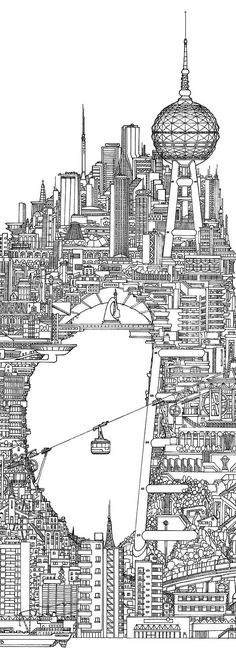 incredibly detailed photo of an amazing city for your adult coloring needs! best adult coloring books is a great site for adult coloring! Building Illustration, City Illustration, Coloring Book Pages, Zentangle, Doodle Art, Line Art, Sketches, Drawings, Doodles