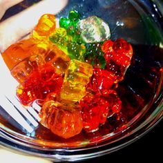Vodka Gummy Bears - soak the gummy bears in vodka for two days and you'll have bears double the size, infused with alcohol! We've got the gummy bears at Spoons 'n Spice! Party Food And Drinks, Party Snacks, Fun Drinks, Alcoholic Drinks, Cocktails, Beverages, Churros, Vodka Gummy Bears, Gummi Bears