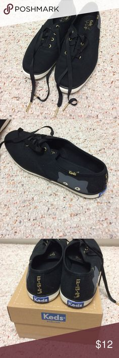 Taylor Swift black keds Taylor Swift black keds with black ribbon laces with gold ends on laces. Worn once. EUC. Smoke and pet free home. Keds Shoes Sneakers