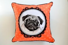 Pug decorative pillow pug lover gift dog cushion by MimoCadeaux, $47.00
