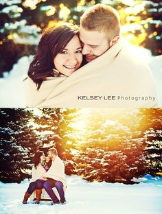 Winter Photography | Winter engagement photoshoot. Snuggling in the snow.     Kelseyleephotography.com