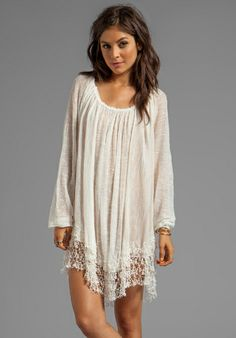 Lace trimmed hem, sheer, shirred neckline... Slip Away Pullover Dress