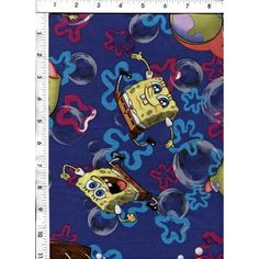 That happy-go-lucky guy, Spongebob, is shown frolicking about on an indigo background of bright bubbles and doodles. www.americasbestthreads.com