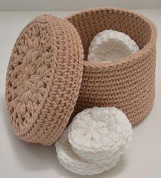 Basket Makeup Remover Pads Soft Cotton by FiberArtCrochet