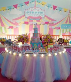 No photo description available. Dumbo Birthday Party, Carousel Birthday Parties, Carousel Party, Circus Birthday, Unicorn Birthday Parties, Birthday Party Decorations, Carnival Baby Showers, Circus Carnival Party, Circus Theme Party