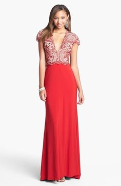 Sherri Hill Embellished Bodice Jersey Gown available at #Nordstrom