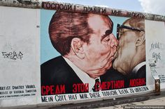 Part of the artwork of what remains of the Berlin Wall (have been)