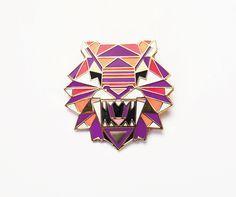 Geometric Enamel Tiger Head Brooch Pin Badge by SketchInc on Etsy
