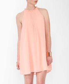 Love 21 - A pleated swing dress featuring a ruffled high neckline. Cutout detail with a self-tie sash in the back. Pastel Pink, Pastel Shades, Dress For Success, Summer Wardrobe, Swing Dress, Pattern Fashion, Dress To Impress, Dresses For Work, Style Inspiration