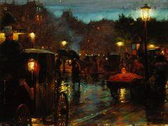 Paris at Night  (1889) Charles Courtney Curran Terra Museum of Art, Chicago #CharlesCourtneyCurran