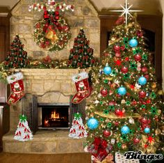 Animated Christmas Fireplace | Christmas Fireplace Picture #103443908 | Blingee.com
