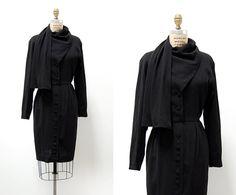 vintage 1950s dress / 1950s black wool dress / shawl by cutxpaste