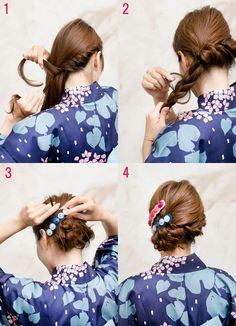 Kimono Frisur - New Site Easy Hairstyles For Medium Hair, Medium Hair Styles, Curly Hair Styles, Yukata, Gothic Hairstyles, Hairstyles Haircuts, Hair Inspo, Hair Inspiration, Japan Hairstyle