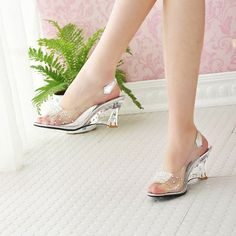 Fashion Sexy Chaussure Shoes Glass Slippers Jelly Shoes transparent crystal Sandal Peep Toes wedges sandals