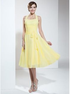 Special Occasion Dresses - $105.99 - A-Line/Princess Halter Knee-Length Chiffon Homecoming Dress With Ruffle Bow(s)  http://www.dressfirst.com