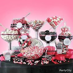 Pink Candy Buffet | Pink and black candies for a glamorous Halloween candy buffet.