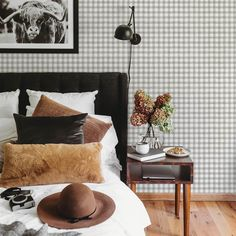 Buffalo Check Removable Wallpaper, Gingham plaid, Peel and stick and Traditional wallpaper Home Interior, Interior Decorating, Interior Design, Wallpaper Paste, Peel And Stick Wallpaper, Herringbone Wallpaper, Standard Wallpaper, Box Patterns, Trends