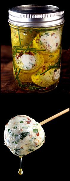 Marinated Chevre or Feta, loaded with garlic, herbs and spice.