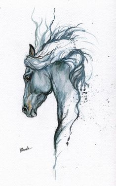 cute animals to draw Gerahmte original Aquarell Malerei Tattoo Pferd von AngelHorses
