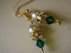 Jeanne - Green Crystal and Pearl Handmade Earrings