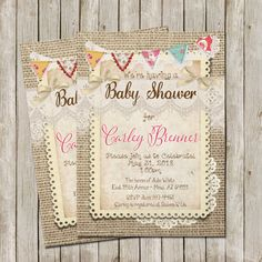 Rustic Baby Shower Invitation Burlap and Lace by WallflowerEvents