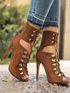 39f071a890af Eyelet Lace-Up Peep Toe Stiletto Boots