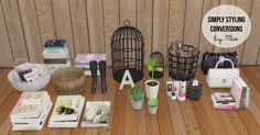 Simply Styling conversions TS2-TS419 meshes: letter deco2 bags 3 plantsBasket with booksBasketBath deco6 booksLarge and small cageBootsFirewoodCredit: Simply StylingDownload